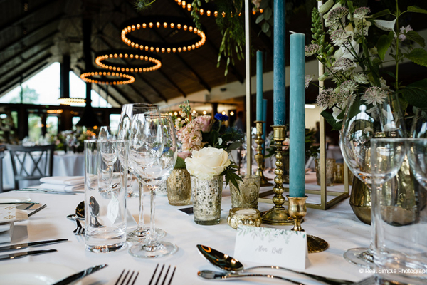 Table Decorations in the Farmshed at Syrencot | Wedding Venues Wiltshire