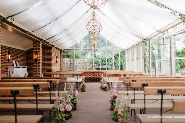 Wedding Ceremony in the Glasshouse at Syrencot | Wedding Venues Wiltshire