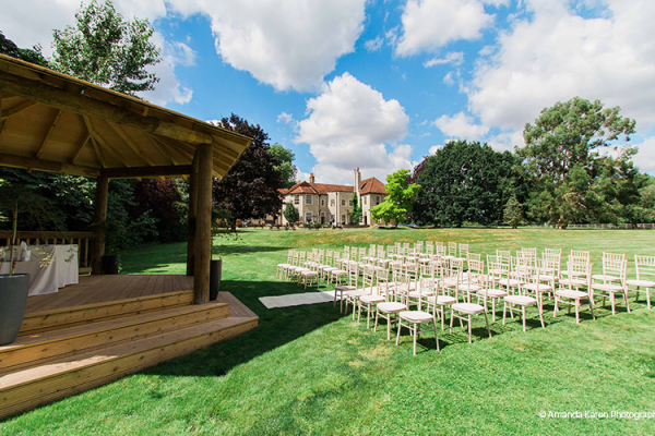 Set up for an outdoor wedding at That Amazing Place in Essex | CHWV