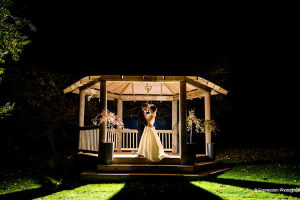The gazebo at That Amazing Place wedding venue in Essex lit up in the evening | CHWV