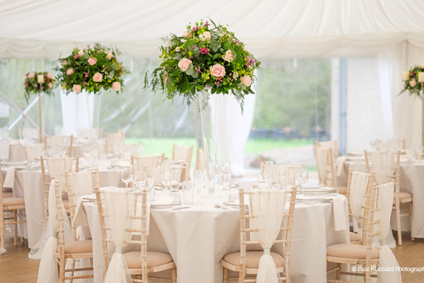 The marquee set up for a wedding breakfast at That Amazing Place wedding venue in Essex | CHWV