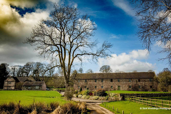 The barn and beautiful grounds at The Ashes barn wedding venue in Staffordshire | CHWV