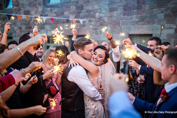 Celebrating with sparklers at The Ashes barn wedding venue in Staffordshire | CHWV