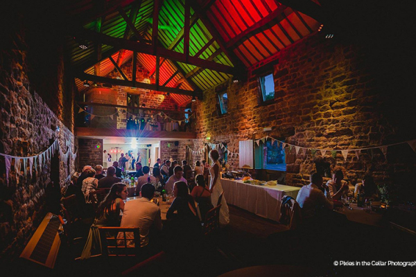 An Evening Wedding Reception At The Ashes Barn Venue In Staffordshire
