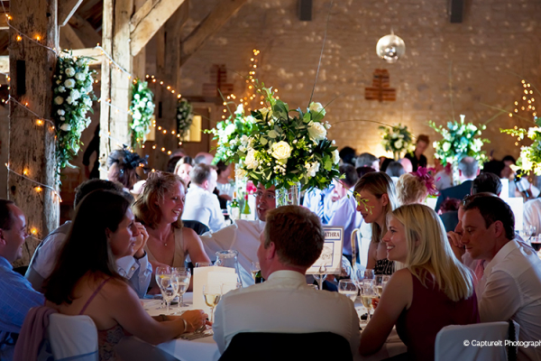 A wedding reception at The Barn at Bury Court in Surrey
