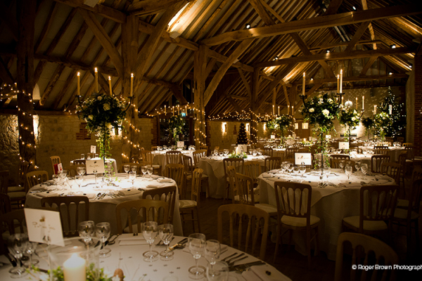 The Barn at Bury Court set up for a wedding reception