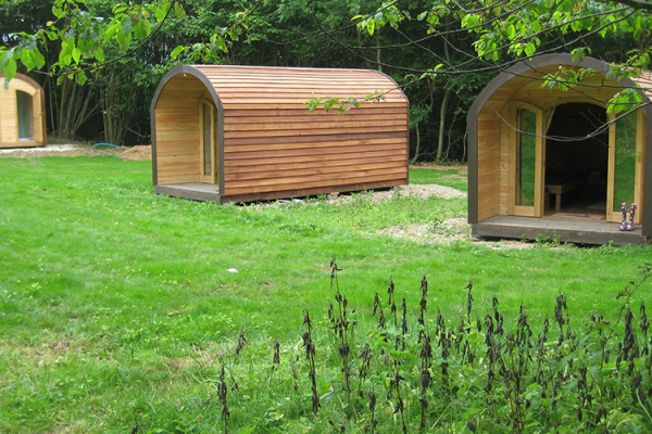 The glamping pods at The Barn at Upcote wedding venue in Gloucestershire | CHWV