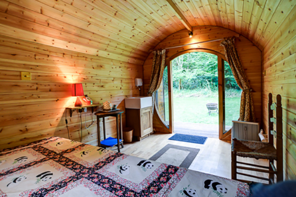 Inside one of the glamping pods at The Barn at Upcote wedding venue in Gloucestershire | CHWV