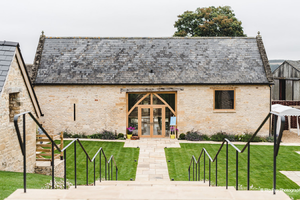 The Tsteps down to the barns at The Barn at Upcote wedding venue in Gloucestershire | CHWV