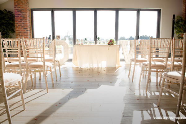 Set up for a wedding ceremony at The Boat House garden wedding venue in Staffordshire | CHWV
