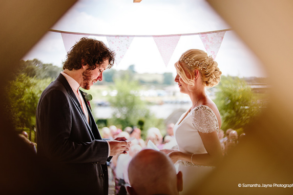 A romantic outdoor wedding ceremony at The Boat House garden wedding venue in Staffordshire | CHWV