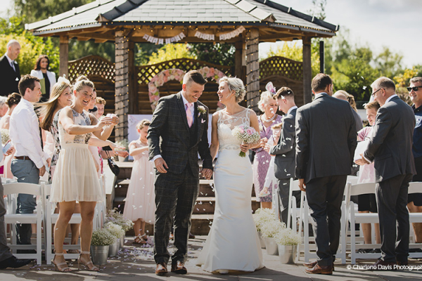 Just married outdoors at The Boat House garden wedding venue in Staffordshire | CHWV