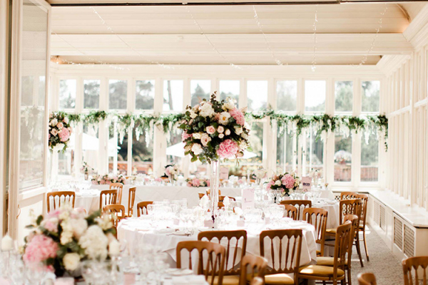 Set up for a wedding reception at The Elvetham country house wedding venue in Hampshire | CHWV