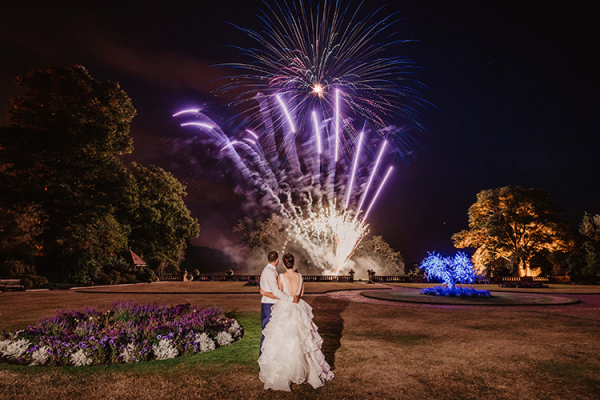 Celebrating with fireworks at The Elvetham country house wedding venue in Hampshire | CHWV