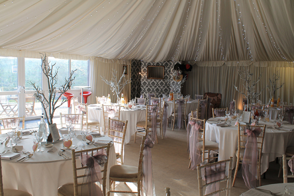 The marquee at The Granary at Fawsley set up for a wedding reception
