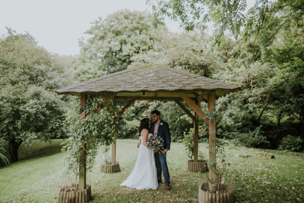 A happy couple taking a moment at The Green wedding venue in Cornwall | CHWV