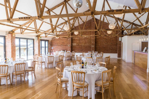 Set up for a wedding breakfast at The Green wedding venue in Cornwall | CHWV