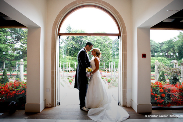 A happy couple at The Italian Villa wedding venue in Dorset