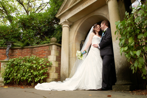 A happy couple in the grounds at The Italian Villa in Dorset
