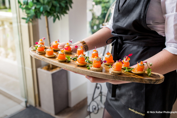 Canapes at a drinks reception at The Italian Villa in Dorset