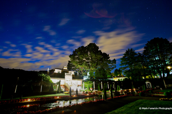 The Italian Villa wedding venue in Dorset at night