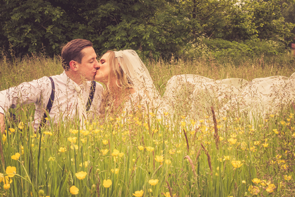 A happy couple in the grounds of The Oak Tree of Peover in Cheshire