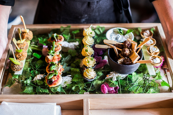 Delicious reception canapes at The Pear Tree wedding venue in Wiltshire | CHWV