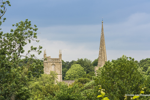 A view of the local church from The Pear Tree wedding venue in Wiltshire | CHWV