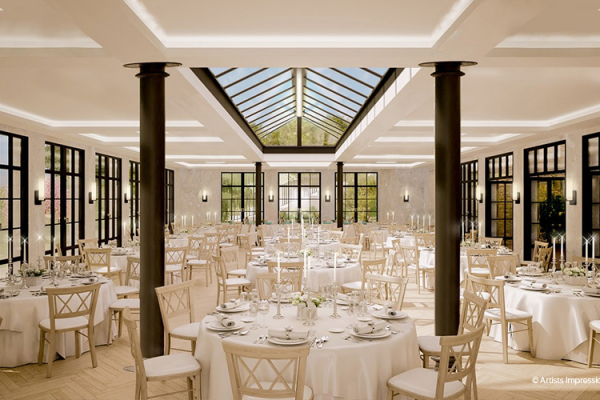 An artists impression set up for a wedding breakfast at The Pear Tree wedding venue in Wiltshire | CHWV