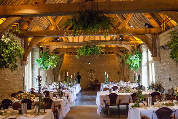 Oxfordshire The Tythe Barn Set Up For A Wedding Reception