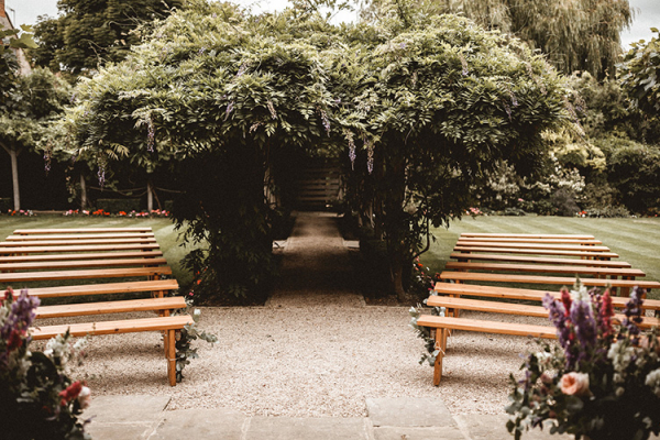 Set up for an outdoor ceremony at The Tythe Barn wedding venue in Oxfordshire | CHWV