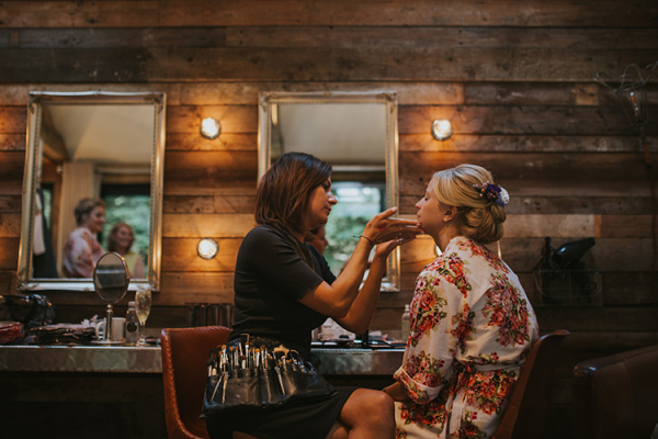A bride getting ready at The Tythe Barn wedding venue in Oxfordshire | CHWV