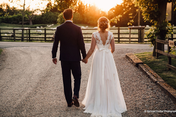 A beautiful sunset at The Tythe Barn wedding venue in Oxfordshire | CHWV