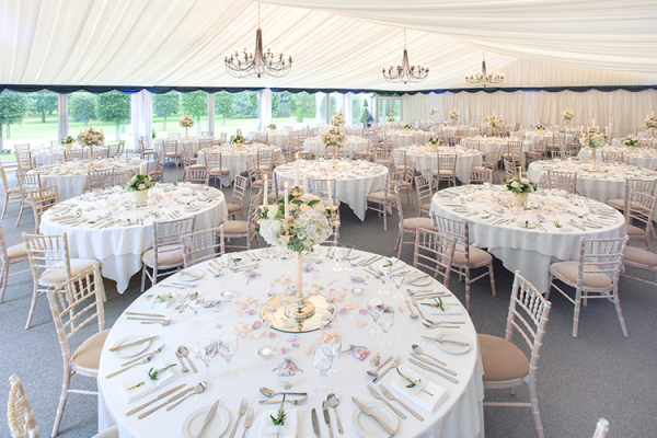 Set up for a wedding breakfast at Thursford Garden Pavilion in Norfolk | CHWV