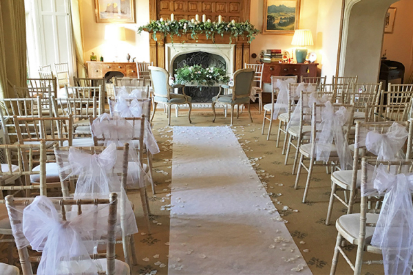 Set up for a ceremony at Tofte Manor country house wedding venue in Bedfordshire | CHWV