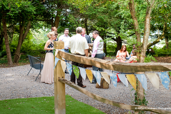 A drinks reception in the grounds of Tournerbury Woods Estate in Hampshire