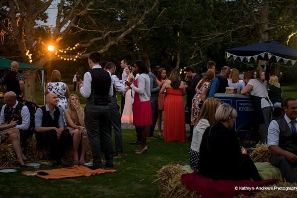 An outdoor evening reception at Tournerbury Woods Estate in Hampshire