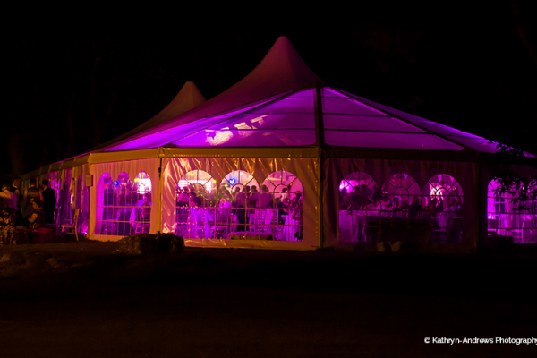 The marquee at Tournerbury Woods Estate lit up at night