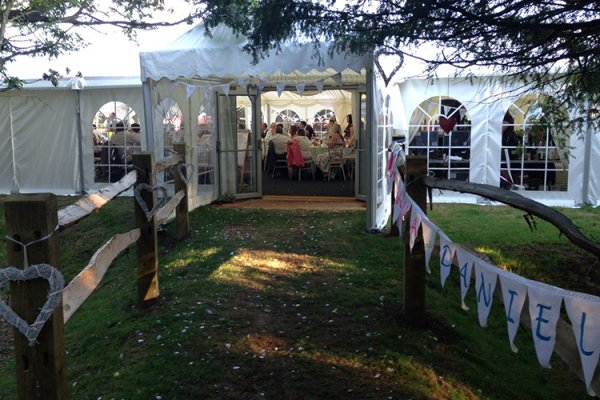 The entrance to the marquee at Tournerbury Woods Estate in Hampshire