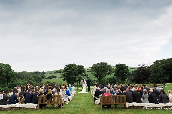 An outdoor wedding at Tredudwell Manor in Cornwall