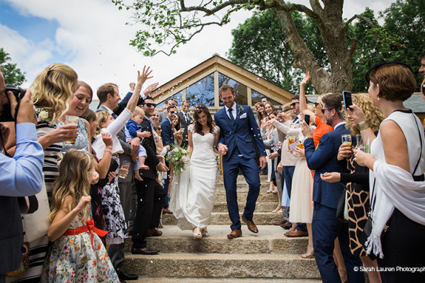 Just married at Tredudwell Manor wedding venue in Cornwall