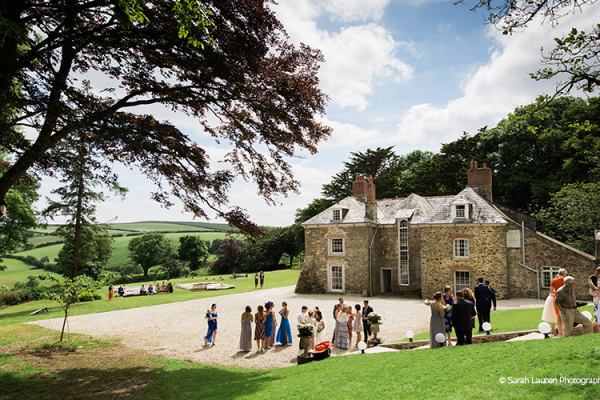 A drinks reception at Tredudwell Manor wedding venue in Cornwall