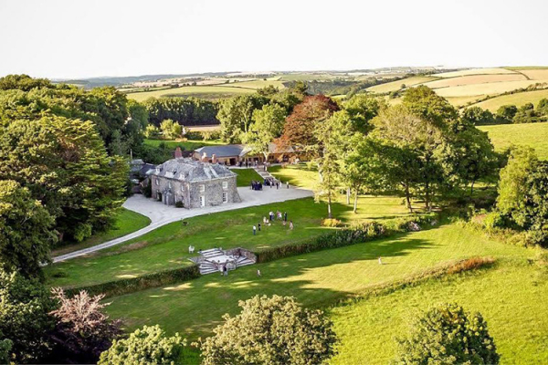 An aerial view of Tredudwell Manor wedding venue in Cornwall | CHWV