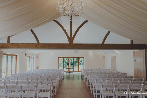 The Pavilion aet up for a ceremony at Tredudwell Manor wedding venue in Cornwall | CHWV