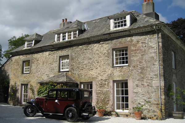 Arriving in style at Tredudwell Manor in Cornwall