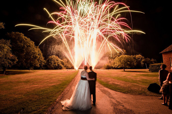 Fireworks to end the night at Ufton Court barn wedding venue in Berkshire | CHWV