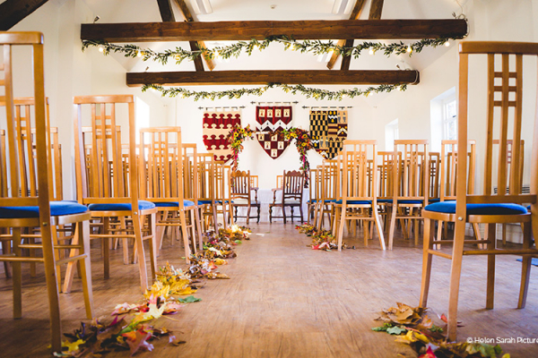 Barn set up for a ceremony at Ufton Court barn wedding venue in Berkshire | CHWV