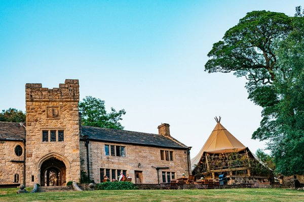 The castle, marquee and grounds at Upper House Castle Wedding Venue in Derbyshire | CHWV