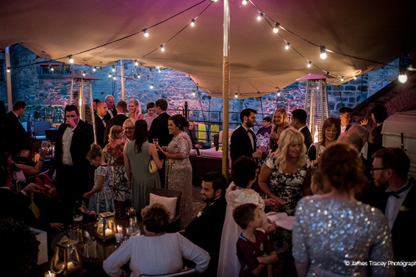 An evening wedding reception at Upper House Castle Wedding Venue in Derbyshire | CHWV