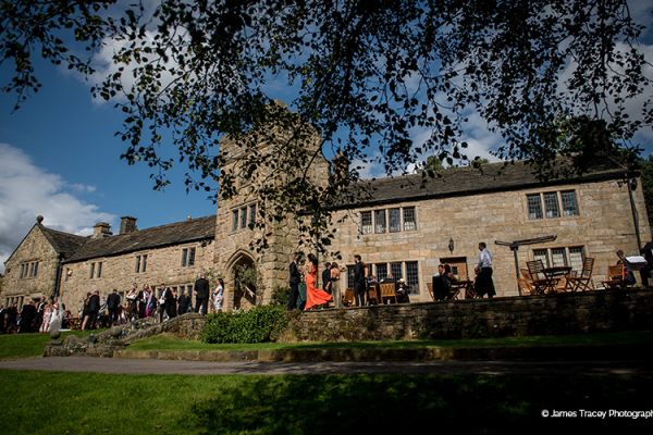 Outdoor drinks reception at Upper House Castle Wedding Venue in Derbyshire | CHWV